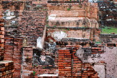 The old ruin of Mahathat temple in Ayuttaya province of Thailand Royalty Free Stock Photos
