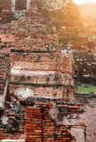 The old ruin of Mahathat temple,historic site in Ayuttaya provin Royalty Free Stock Photo