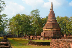Old and ruin pagoda in Kamphaeng Phet Historical Park,Thailand Royalty Free Stock Photo