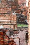The old ruin of wat Mahathat,historic site in Ayuttaya provin Royalty Free Stock Photos