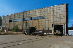 Old ruined and abandoned factory in the zone stock photo