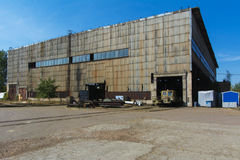 Old ruined and abandoned factory in the zone stock images