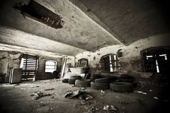 Old ruined abandoned room Stock Images