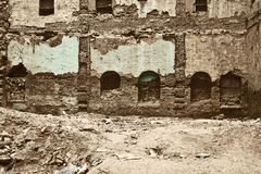 The old ruined brick apartment building closep Royalty Free Stock Photography