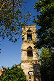 Old ruined brick tower with empty windows in the country Stock Images