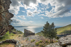 Old ruined building and coast at Farinole in Corsica Stock Image