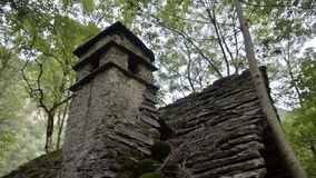Old ruined building lost on the Italian Swiss Alps stock video footage