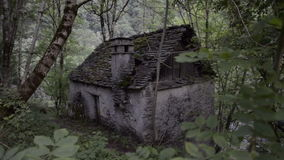 Old ruined building lost on the Italian Swiss Alps stock video