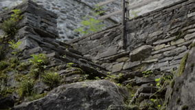 Old ruined building lost on the Italian Swiss Alps near Locarno stock video