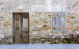 Old Ruined Building`s Facade Stock Photo