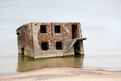Old ruined building in sea Royalty Free Stock Images