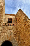 Old ruined castle in Morella, Spain. Stock Photos
