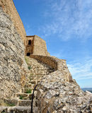 Old ruined castle in  Morella town, Spain. Royalty Free Stock Photos