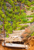 Old ruined concrete stairs at the beach, Halkidiki, Greece Stock Photos