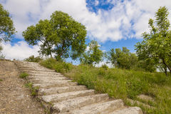 Old ruined concrete stairs with green trees and grass and blue s. Ky with puffy clouds sunny day Stock Images