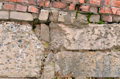 Old ruined concrete wall with bricks Royalty Free Stock Image