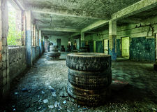 Old ruined factory building from the inside Stock Photos
