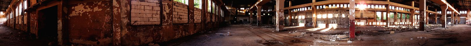 Old Ruined Hall. Panorama of old ruined train repair station royalty free stock images
