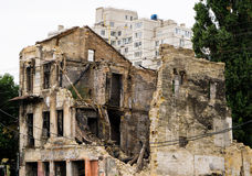 Old ruined house after bombing Royalty Free Stock Images