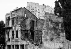 Old ruined house in city after bombing Royalty Free Stock Image
