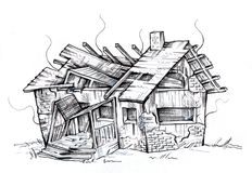 Old ruined house. Destroyed by fire. Black and white drawing isolated on white vector illustration