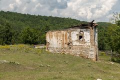 Old ruined house. In the mountains Stock Photography