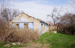 Old ruined house. House without a roof Stock Images