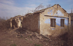 Old ruined house. House without a roof Royalty Free Stock Image