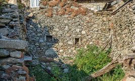 Old ruined house with stone walls Royalty Free Stock Photos