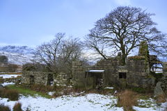 Old ruined house. Surrounded by snow near Llyn Celyn, Snowdonia Stock Image