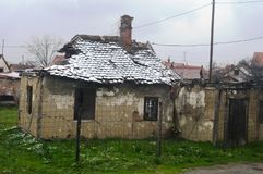 Old ruined house. An old ruined house in winter Stock Photo