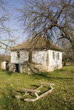 Old Ruined House With Wooden Sleds In Front Royalty Free Stock Photography