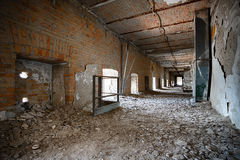 Old ruined industrial building corridor, interior Stock Photo