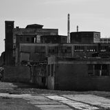 Old ruined industrial factory  bw Stock Photos