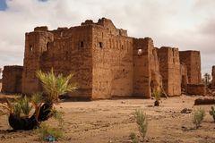 Kasbah in ruins. Skoura. Morocco. An old ruined kasbah by the road from Ouarzazate near oasis Skoura. Morocco stock photography