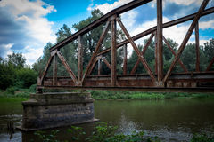Old ruined metallic bridge Royalty Free Stock Photo