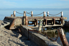 Old ruined pier in Listvyanka, Lake Baikal Royalty Free Stock Photos