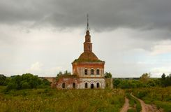 The old ruined red brick Church. Russia city Suzdal stock photo