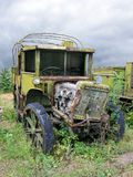 Old Ruined Russian Military Truck From WWII. Weeds, Dramatic Sky royalty free stock photo