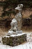 Old ruined of the Soviet statue on the mountains Valley of narza Stock Photos