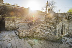 Old ruined stairs at point of interest Mitridat, Kerch city. Royalty Free Stock Photos
