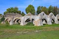 Old ruined storehouses on the island of Corfu stock images