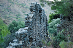 Old ruined wall with masonry. God of Mountain castle in Olympus, Antalya stock photos