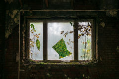 The old and ruined widow of  building, lost places Stock Images