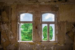 The old and ruined widow of  building, lost places Stock Image