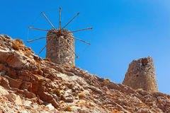 Old ruined windmills on the Cret. E. Lassithi region Royalty Free Stock Images