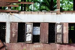 Old and ruined wooden building at the school Royalty Free Stock Photography