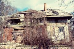 Ruined wooden house. Old ruined wooden house Royalty Free Stock Images