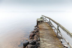 Old ruined wooden pier. Saimaa lake Royalty Free Stock Images