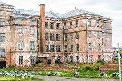 Old  ruins of abandoned school Royalty Free Stock Image